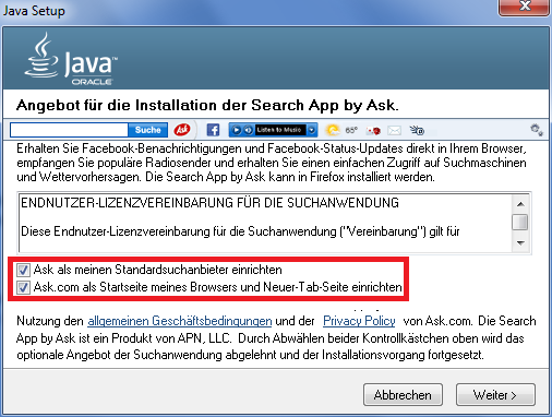 Java ohne Ask